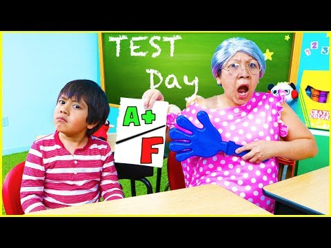 Ryan Pretend Play School Test Day Learn Healthy Choices!!