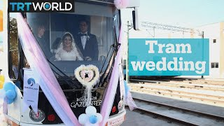 Turkish couple uses tram as wedding car