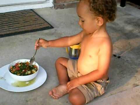 Raw Food Stew: Raw Baby  Andrew Enjoying Savory Veggie Stew: The Cooked Food Cravings Crusher