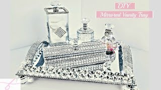 DIY Dollar Tree Room Decor 5 Piece Mirror Vanity Tray Set - So Glam with BLING
