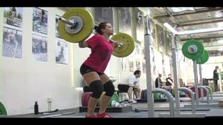 Daily Training 11-16-12 - Weightlifting training footage of Catalyst weightlifters. Jessica snatch push press + OHS, Steve block snatch pull + snatch, Audra clean + jerk. - Catalyst Athletics Olympic Weightlifting Videos