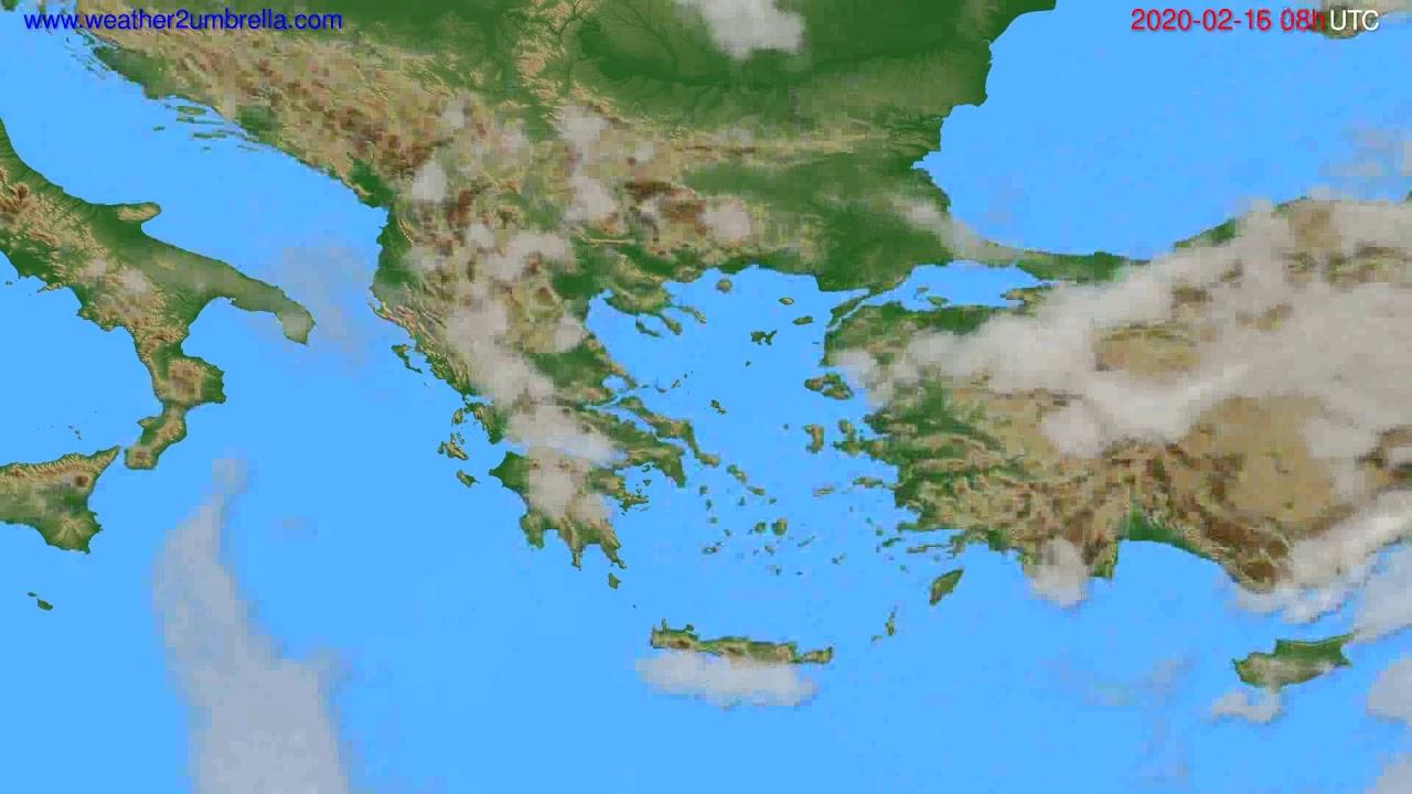 Cloud forecast Greece // modelrun: 12h UTC 2020-02-15