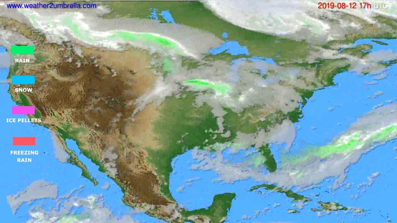 Precipitation forecast USA & Canada // modelrun: 00h UTC 2019-08-11