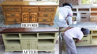 Hey Loves!! In this video, I will share how I transformed this old dresser into a new and up to date entertainment center for my first furniture client! Thumbs up for more furniture makeovers!!Paint Color: BEHR Dried ChiveStain Color: General Finishes JavaBraid out video next!!!Check out my previous furniture makeover:http://bit.ly/29HVQG9Check out my new VLOG Channel!!! http://bit.ly/1VMWHtqK E E P U P W I T H M E Instagram: @aprilbeee_http://bit.ly/1Rv8bBwSnapchat: @aprilbeee1Facebook: April Beeehttp://on.fb.me/1MqdCeDTwitter: @aprilbeee_http://bit.ly/1HqTEPEF O R   B U S I N E S S   I N Q U I R I E S Email: april.beee1@gmail.comT H A N K S   F O R   W A T C H I N G !!!