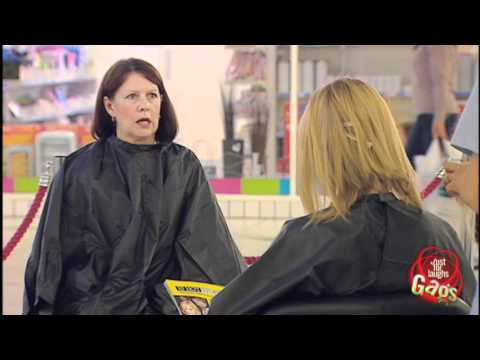 hairdresser - http://gags.justforlaughs.com | Subscribe! http://goo.gl/wJxjG This new free spray makes your hair nice, soft and pretty... and almost doesn't make you lose ...