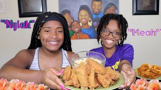Fried Chicken Wings and  Smoked Gouda Mac n Cheese Mukbang