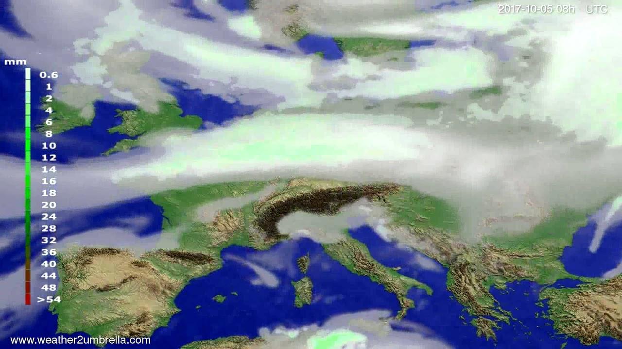 Precipitation forecast Europe 2017-10-02