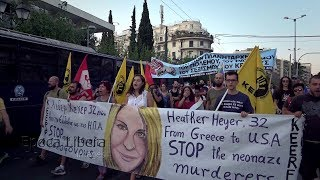 Activists in Greece rallied in front of the US Embassy in Athens to honor Heather Heyer the antifascist murdered in Charlottesville, ...