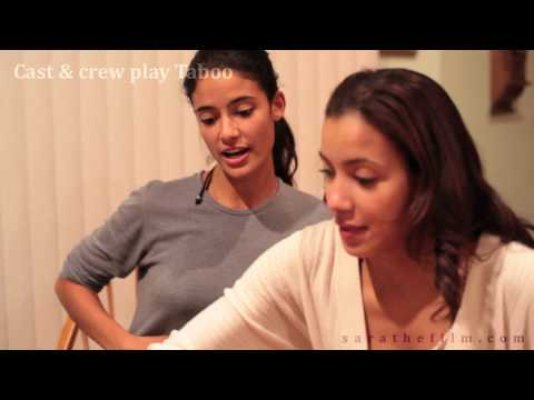 Cast and crew play Taboo