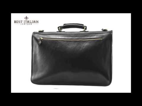 IMedici Spacious Italian Leather Laptop Briefcase with Turn-key Closure Color Black, SKU - IM4050BK