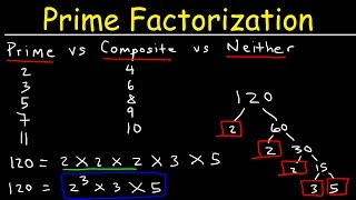 This Pre-Algebra video tutorial explains the difference between prime and composite numbers.  It discusses how to write the prime factorization of large numbers using exponents the easy way and how to use the factor tree method to do it.  This video contains plenty of examples and practice problems.  This video is for kids in 4th grade, 5th grade, or 6th grade.Pre-Algebra Video Playlist:https://www.youtube.com/watch?v=WJqw-cxvKgo&list=PL0o_zxa4K1BVoTlaXWFcFZ7fU3RvmFMMGAlgebra Online Course:https://www.udemy.com/algebracourse7245/learn/v4/overviewAccess to Premium Videos:https://www.patreon.com/MathScienceTutor