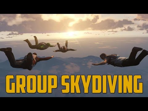 GROUP SKYDIVING! (GTA V Online w/ Goldy, Ally, & Viewers)