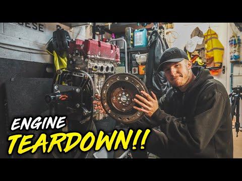 FULLY STRIPPING THE K20 ENGINE!! *K20 GARAGE RESTO!*