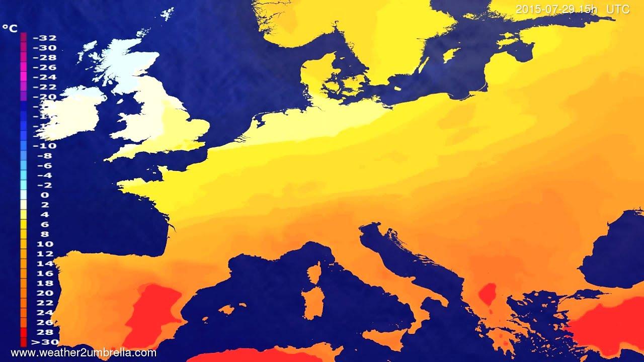 Temperature forecast Europe 2015-07-26