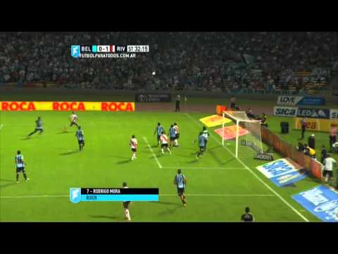 Gol de Mora. Belgrano 0 – River 1. Fecha 3. Primera División 2015. FPT.