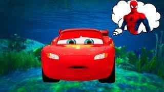 Video LIGHTNING MCQUEEN CAR STUCK UNDERWATER by Joker. Spiderman w/ Superheroes saves car Cartoon for Kids MP3, 3GP, MP4, WEBM, AVI, FLV Juni 2018