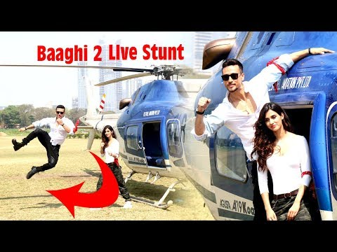 HELICOPTER RIDE | Tiger Shroff, Disha Patani | Baaghi 2 Trailer Launch