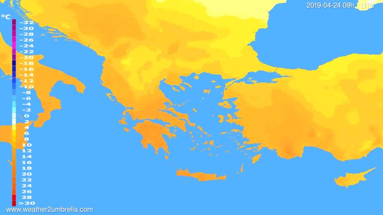 Temperature forecast Greece // modelrun: 00h UTC 2019-04-22
