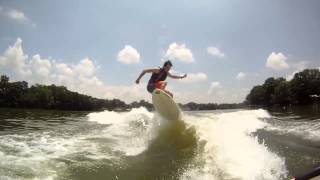 I've begun to make the transition from skim style to surf style. This was day one on a Shred Stixx The Ringer on Lake Dunlap behind a 2008 Mastercraft X2 wak...