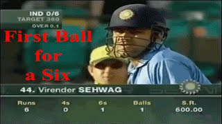 First Ball Six: First ball of the Match Inning hits for a six. Thanks for watching the video, please like the video and Don't forget to subscribe the Channel.