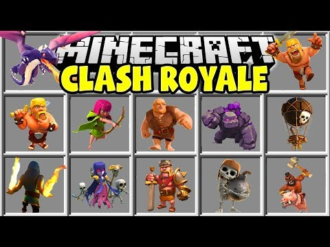 Minecraft CLASH ROYALE MOD | BARBARIANS, WIZARDS, GOLEMS, GIANTS & MORE!! (видео)