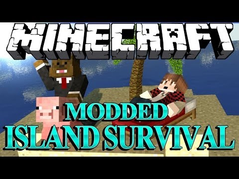 SHOOTING A GUN in Minecraft Modded Survival Island Let's Play w/ BajanCanadian! #2