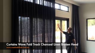 Curtains Wave Fold Track Charcoal Linen Broken Head
