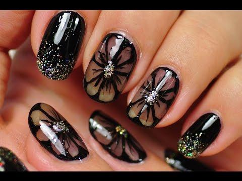 nail art - fiori neri in trasparenza