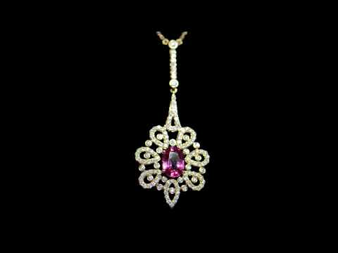 Lady's 18k Rose Gold 1.88ct Pink Sapphire and Diamond Pendant