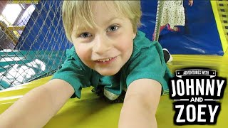 EPIC Play Place with Big Ball Pit, Huge Slide, Long Tunnels & Giant Rope Ladder with Johnny And Zoey