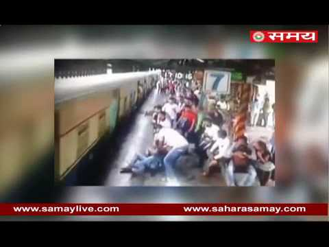 Caught on CCTV: A person survived narrowly due to climbing on a moving train in Mumbai