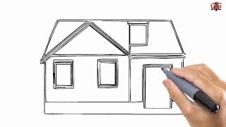 How to Draw a House Easy Drawing Step By Step Tutorials for Kids - UCIDraw