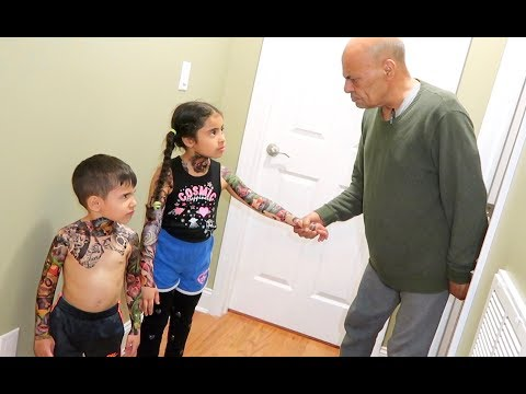 KIDS DO FAKE TATTOO PRANK ON STRICT GRANDPA!!!
