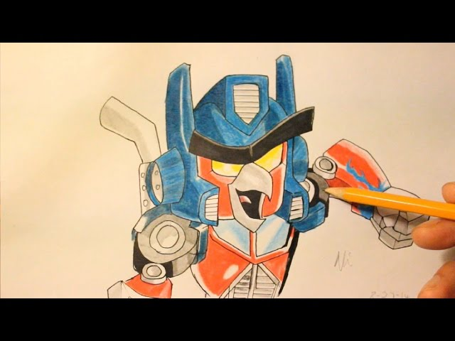 How To Draw Angry Birds Transformers Red Bird As Optimus Prime