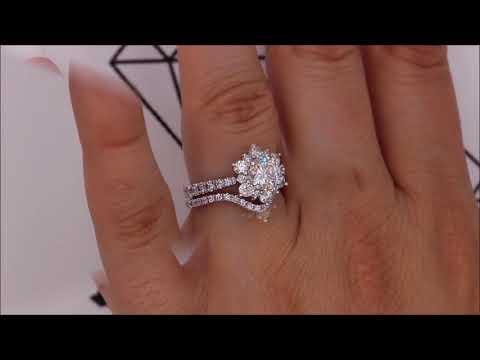 Diamond Snowflake Wedding Set Engagement Ring and Wedding Band - Snowflake Set
