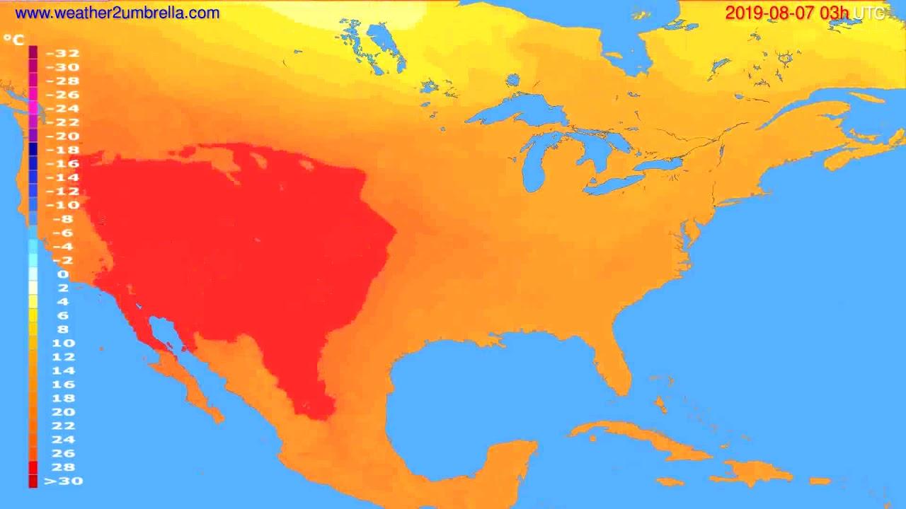 Temperature forecast USA & Canada // modelrun: 00h UTC 2019-08-04