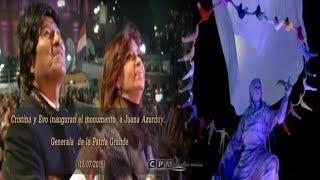 Cristina y Evo(con discurso), inauguran monumento a Juana Azurduy