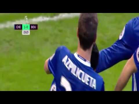 Pedro Goal 1-0 Chelsea vs Bournemouth Premier League 26.12.2016
