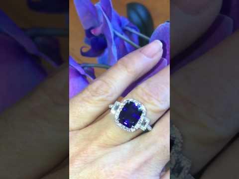 $1550 SAPPHIRE AND DIAMOND ANNIVERSARY BIRTHSTONE ENGAGEMENT RING