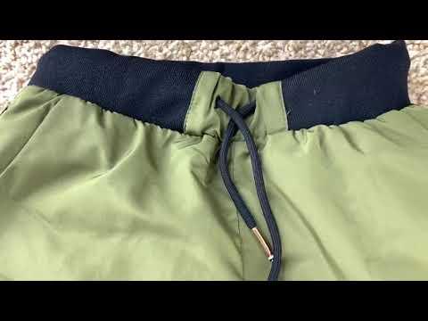 Дутые стильные детские зимние штаны зеленого цвета на мальчика видео