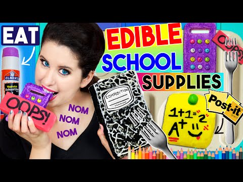 DIY Edible School Supplies | EAT Your Calculator, Notebook, Glue Stick, Eraser & Post-It Notes! (видео)