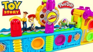 TOY STORY Characters Visit Magic Play Doh Mega Fun Factory Playset to Collect Surprise Toys!