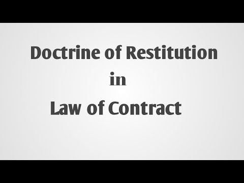 Doctrine of Restitution under law of Contract