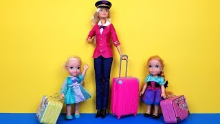 Video AIRPORT ! Elsa and Anna toddlers - vacation - check in - baggage - suitcases - shopping - Barbie MP3, 3GP, MP4, WEBM, AVI, FLV April 2019
