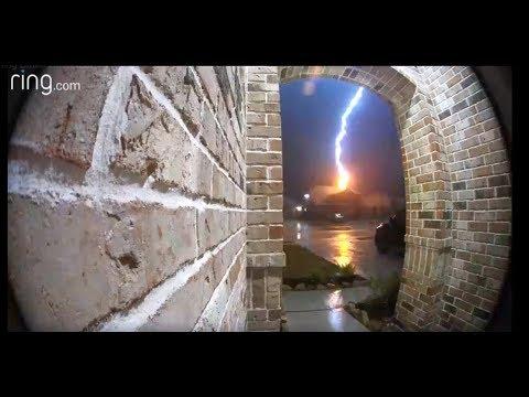 Lightning strike caught on camera sets Rosenberg home on fire