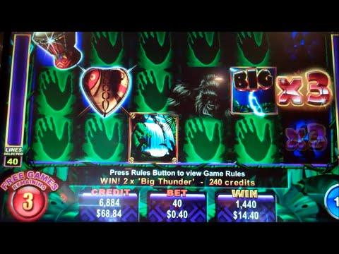 Big Thunder Slot Machine Bonus + Retrigger - 20 Free Games Win with 6th Reel Multiplier