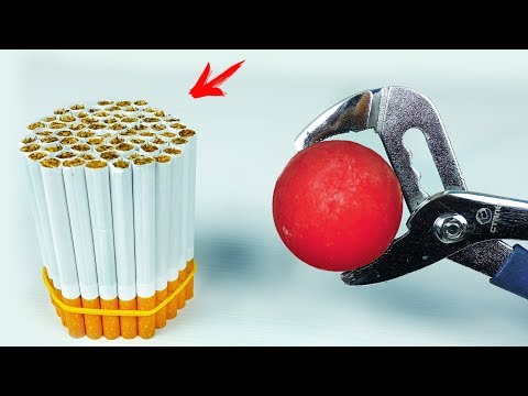EXPERIMENT: Glowing 1000 Degree METAL BALL Vs CIGARETTES
