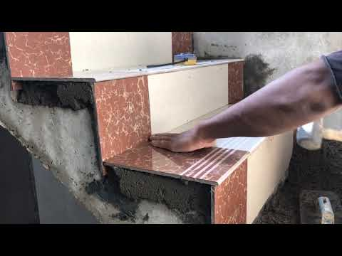 Hướng dẫn ốp bậc cầu thang bằng gạch giả đá hoa cương|Gạch giả đá ốp cầu thang