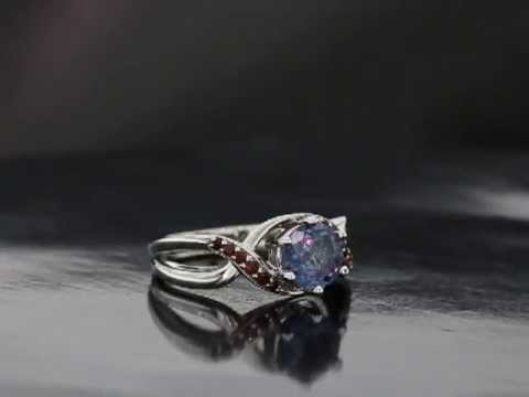 S.R. Custom Made Alexandrite and Garnet Ring