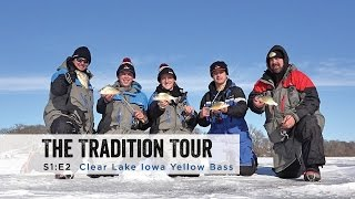 """In this episode of The Tradition Tour Staffers Adam Bartusek and Sam Sobieck travel down to Clear Lake, Iowa to fish for Yellow Bass with Ice Team Pro Kevan Paul and guest host Joe Weiers .Filmed and Edited by: Sam SobieckKevan Paul's Guide Service:https://www.facebook.com/KevanPaulsGuideService/Clear Lake Bait and Tackle:https://www.facebook.com/Clearlakebait/Jigs:Clam Pro Tackle Snow Drop Jighttp://stores.clamoutdoors.com/clam/tackle/tungsten-drop-series/snow-drop-xl.htmlClam Pro Tackle Drop-Kick Jighttp://stores.clamoutdoors.com/clam/tackle/jigs/dave-genz-drop-kick.htmlRods:DH Custom Rods Pannie Drop'rhttp://www.dhcustomrods.com/dh-ice-rodsDH Custom Rods Al Dente Noodlehttp://www.dhcustomrods.com/dh-ice-rodsReels:Clam Dave Genz Spooler Elitehttp://www.gandermountain.com/modperl/product/details.cgi?pdesc=Clam-Dave-Genz-Ice-Spooler-Elite-Series-Ice-Combo-25-Light&i=789014House:Clam Yukon X Thermalhttp://www.gandermountain.com/modperl/product/details.cgi?pdesc=Clam-Yukon-X-Thermal-Fish-Trap-Ice-Shelter&i=906464Suit:Ice Armor by Clam Lift Suit Bibshttp://www.gandermountain.com/modperl/product/details.cgi?pdesc=Clam-Mens-Ice-Armor-Lift-Bib&i=1020701Ice Armor by Clam Lift Suit Parkahttp://www.gandermountain.com/modperl/product/details.cgi?pdesc=Clam-Mens-Ice-Armor-Lift-Parka&i=1020700Flasher:Vexilar FLX-28http://www.gandermountain.com/modperl/product/details.cgi?pdesc=Vexilar-FLX-28-Pro-Pack-II-Flasher-with-ProView-Ice-Ducer&i=756522Vexilar FL-20https://shop.vexilar.com/en/fl-series-ice-flashers/fl-20-seriesAuger:8"""" K-Drill w/ Milwaukee M18 Fuelhttp://icefishingtoday.com/ice-fishing-products/k-drill-electric-ice-auger-system/"""